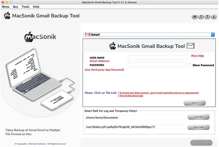 run the MacSonik Gmail Backup tool