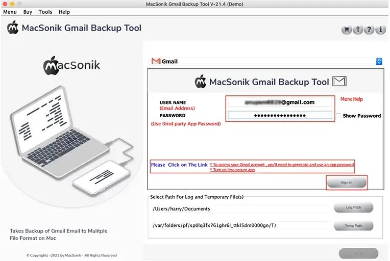 Enter your Gmail credentials and log in to your email account.