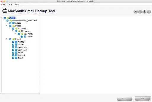 Select the desired mailbox items and click on the Next button.