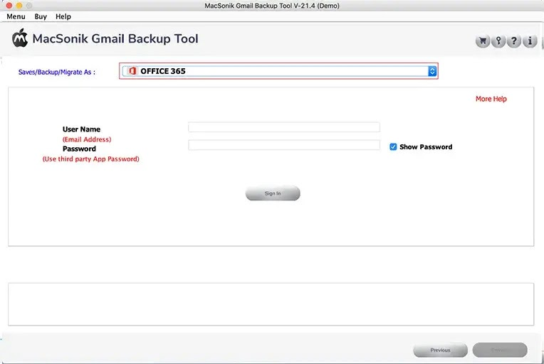 Choose the file format or email client in the Save/Backup/Migrate As option.