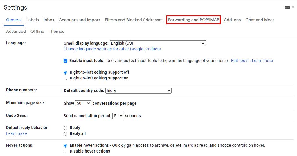 Forwarding and POP/IMAP tab