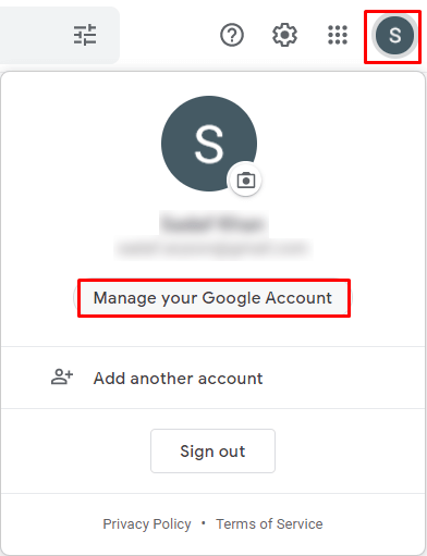 pick the Manage your Google Account option.