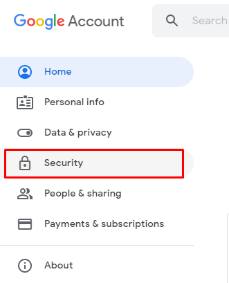 Now, select the Security tab on the left panel.