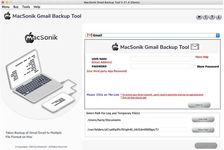 Download and Run the MacSonik Gmail Backup Tool on your Mac.