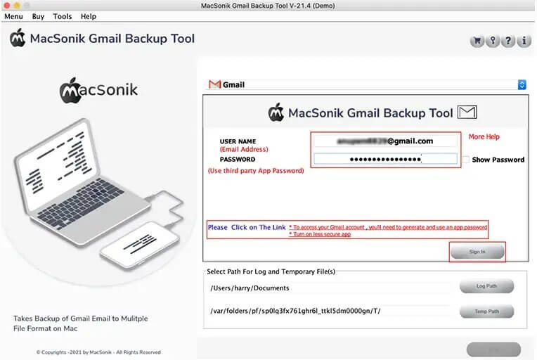Enter your Gmail username and the third-party App password and press Sign In.