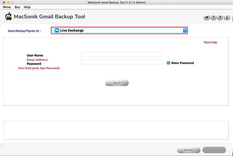 Choose the Live Exchange mail client from the drop-down options and log in using the credentials.